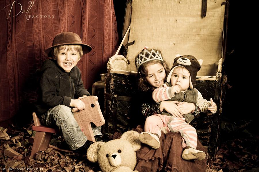 Jutine, Germain et leur petit frère Valentin.