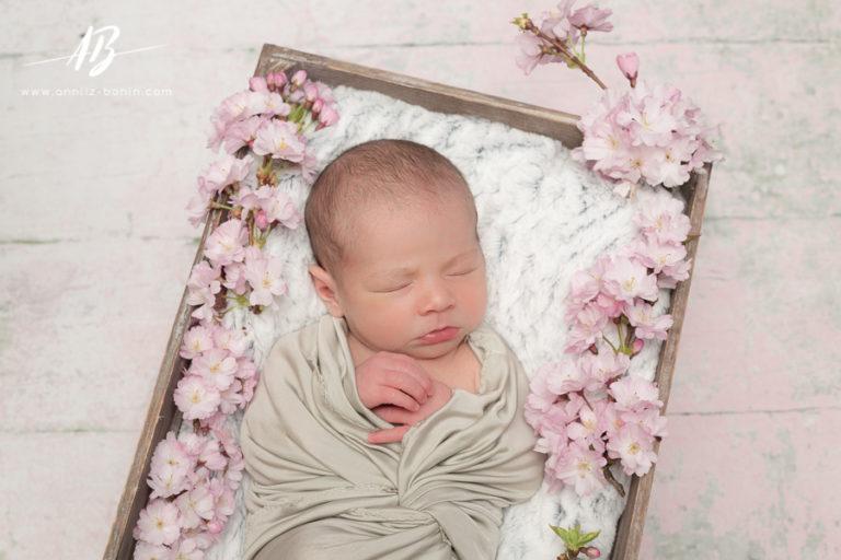 Séléna, petite fleur d'avril – séance naissance en studio à Caen